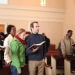 Singing early Adventist hymns in the Allegan Seventh-day Adventist church.
