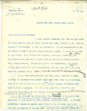 Ellen G. white letter to W. K. Kellogg, Jan. 25, 1900