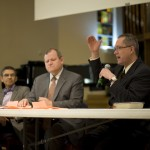Mike Oxentenko speaking during the Current Issues Discussion at the 2014 Ellen White Issues Symposium.