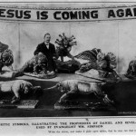 "Man in suit standing with papier-mâché beasts under a banner that reads ""Jesus is Coming Again."""