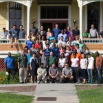 Group picture at Founder's Hall, Atlantic Union College